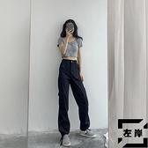 復古工裝褲女夏高腰顯瘦束腳褲休閒長褲子潮【左岸男裝】