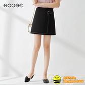 高腰a字裙半身裙女夏季2020新款不規則半裙職業工裝裙子黑色短裙【happybee】