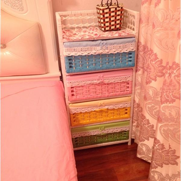 床頭櫃簡約現代簡易儲物櫃草藤編收納櫃寶寶衣櫃抽屜五斗櫃田園 ATF 英賽爾