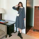 VK精品服飾 韓國風氣質蕾絲娃娃領碎花雪紡長版長袖洋裝