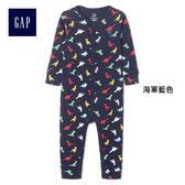 Gap男嬰兒 恐龍圖案印花長袖一件式包屁衣 375085-海軍藍色