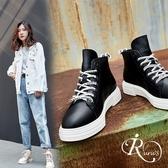 韓系真皮圓頭綁帶馬丁鞋短靴/色/35-39碼(RX0225-3011)  iRurus 路絲時尚