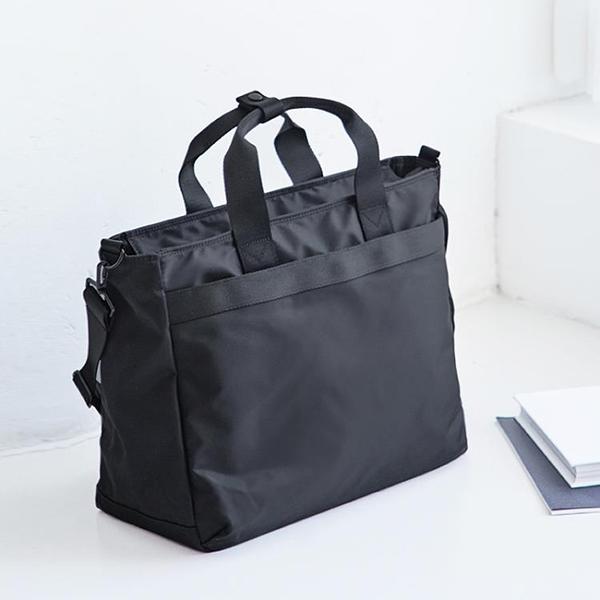 公文包 韓國原創手提尼龍公文包女商務大容量單肩包旅行斜跨手提包電腦包 歐歐