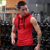 夏季 連帽t恤男士無袖背心彈力健身坎肩青年帶帽衫緊身運動背心潮