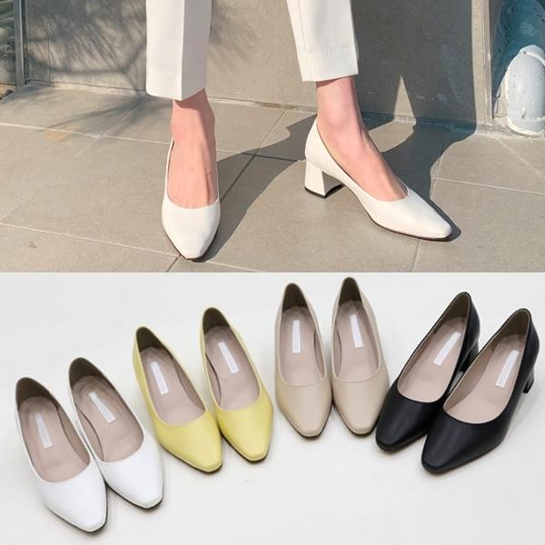 韓國製.法式女伶經典素面微方頭低跟包鞋.白鳥麗子