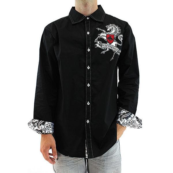 『摩達客』美國進口潮時尚設計【Victorious】駿馬圖騰刺繡黑色長袖襯衫(10213099006)