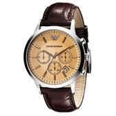 Emporio Armani 亞曼尼 經典三眼計時皮帶手錶-香檳 AR2433
