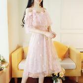洋裝 網紗一字領細肩帶刺繡蕾絲 韓版 婚禮小禮服 派對連身裙 花漾小姐【預購】