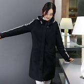 毛呢外套-條紋加厚羊毛中長款女連帽大衣72at17【巴黎精品】