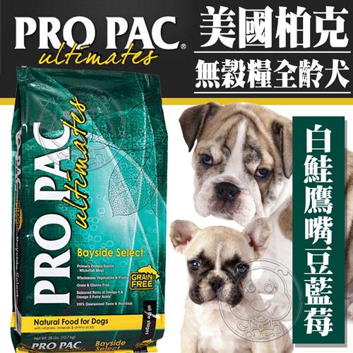 【培菓幸福寵物專營店】美國ProPac柏克》無穀糧全齡犬白鮭鷹嘴豆藍莓腸胃強化保健配方1磅450g/包