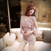 VK旗艦店 韓國風性感深V露背露肩修身包臀長袖洋裝