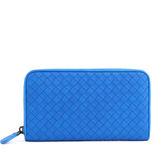 【BOTTEGA VENETA】小羊皮 ㄇ型拉鏈長夾(電子藍色) 114076 V001N 4321