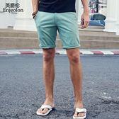 小口袋裝飾 夏季男式簡約純色休閒短褲青年五分褲中褲馬褲