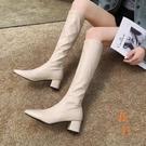 騎士靴女長靴加絨不過膝高跟長筒靴子秋冬馬丁靴【橘社小鎮】