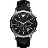 Emporio Armani 亞曼尼 優質型男三眼皮帶手錶-黑 AR2447