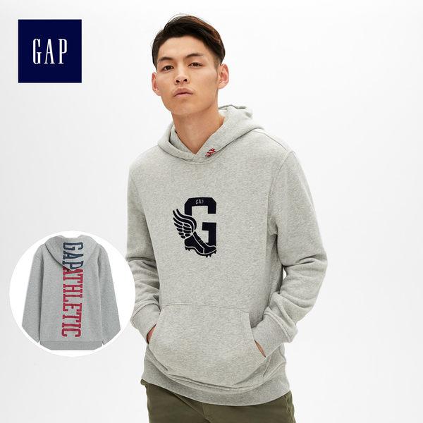 Gap男裝 創意logo連帽長袖休閒上衣 500830-麻灰色