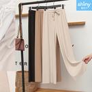 【V9177】shiny藍格子-完美顯瘦.高腰顯瘦垂感冰絲九分寬褲