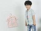 英倫格紋排釦卡其襯衫 春夏童裝 男童襯衫 男童上衣 男童短袖