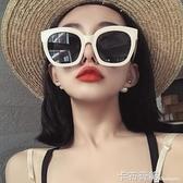 網紅款超大框方形墨鏡女圓臉復古白色框韓版偏光太陽鏡防紫外線潮卡 布奇諾