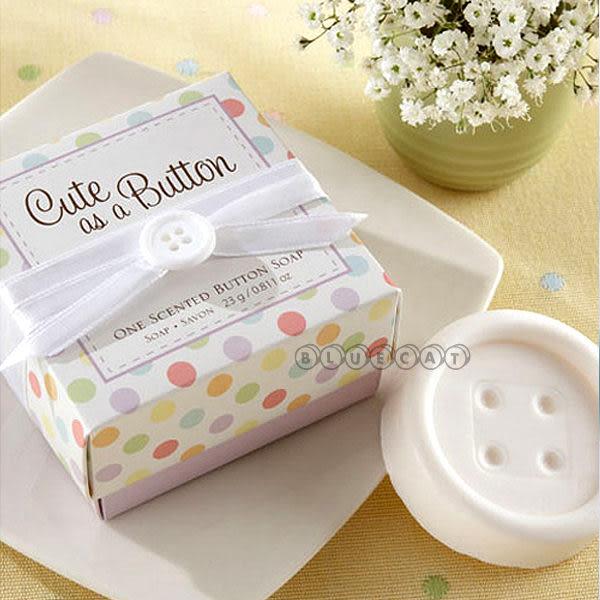 【BlueCat】婚禮小物 純白普普風緊緊相扣大鈕扣造型香皂禮盒