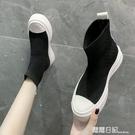 港風透氣套腳襪子鞋厚底板鞋女飛織針織彈力...