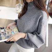 梨卡 - 韓版高領舒適蝙蝠衫燈籠袖毛衣針織衫B405