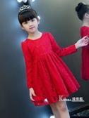 女童洋裝加絨加厚冬小女孩洋氣秋裝新款禮服裙子兒童公主裙紅色 Korea時尚記
