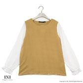 【INI】氣質實穿、荷葉袖條紋雪紡上衣.黃色