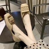 女鞋單鞋英倫風小皮鞋時尚金屬方扣復古淺口平底鞋軟底 完美情人館