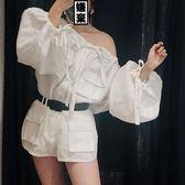 斜肩上衣潮 長袖一字領漏肩寬鬆棉麻襯衫女