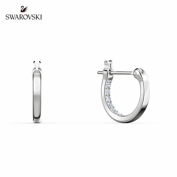 施華洛世奇 Infinity 白金色流線無限穿孔耳環