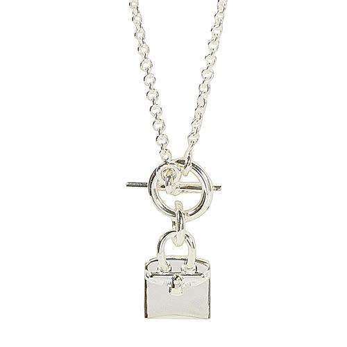 茱麗葉精品【全新現貨】HERMES 經典Birkin柏金造型吊飾銀飾項鍊
