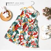 夏日熱帶扶桑花棉麻背心洋裝 蝴蝶結綁帶 連身裙 無袖 渡假風 女童【哎北比童裝】