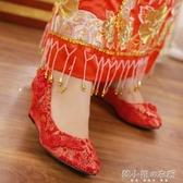 新款傳統淺口圓頭坡中跟女單鞋配婚紗禮服旗袍紅色新娘結婚繡花鞋 韓小姐的衣櫥