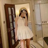 洋裝 性感掛脖露背襯衫連衣裙女2021夏新款小心機收腰無袖娃娃衫蓬蓬裙