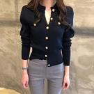 緊身針織開衫女短款薄款修身韓版春秋新款毛衣復古長袖小外套上衣