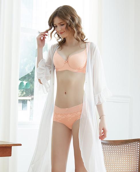 EASY SHOP-時尚零感肌著 大罩杯E-F罩內衣(柔嫩橘)