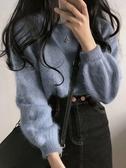 毛衣 毛衣女秋冬外穿套頭韓版馬海毛時尚新款洋氣軟奶藍針織打底衫