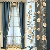 藍色輕奢北歐風格簡約絨布浮雕窗簾遮光高檔大氣客廳臥室2019新款 〖korea時尚記〗