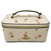 【COACH】經典LOGO 防刮PVC皮革花卉印花小手拿包化妝箱首飾盒(米白)
