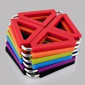 不銹鋼硅膠隔熱墊歐式餐桌墊 盃墊碗墊鍋墊防燙墊 6個裝   LannaS