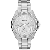 【Fossil】Cecile羅馬時標晶鑽三眼時尚腕錶-亮眼銀/AM4481/台灣總代理公司貨享兩年保固