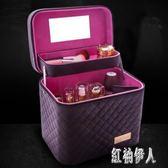 大容量韓國化妝包女多功能層小號網紅便攜手提化妝品收納盒簡約箱 js27034『紅袖伊人』