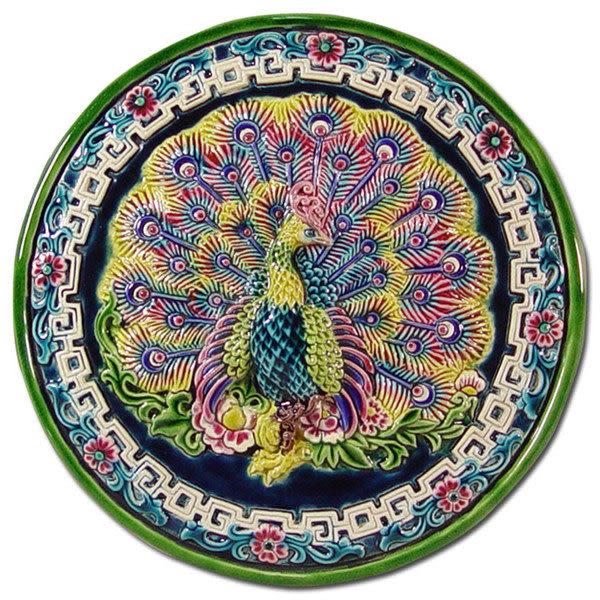 鹿港窯-台灣國寶交趾陶開運裝飾壁飾-立體框【 L 孔雀開屏 】