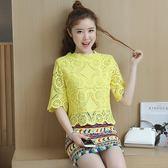 FINDSENSE G5 韓國時尚 蕾絲 兩件套 短袖 T恤 包臀 印花 短裙 甜美 套裝