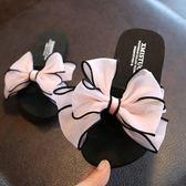兒童拖鞋 防滑一字拖涼拖可愛蝴蝶結外穿親子拖鞋 艾米潮品館