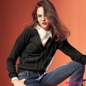 【SHOWCASE】銀邊假口袋裝飾V領合身針織小外套(黑)