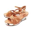 【南紡購物中心】WALKING ZONE(女) 繁花楔型厚底彈力涼鞋 女鞋 -棕(另有杏色)