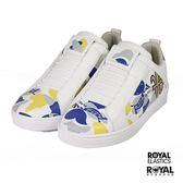 Royal 新竹皇家 Icon 白色 皮質 塗鴉 幾何 套入式 休閒鞋 男款NO.B0392
