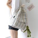 後背包女 NR時尚小清新條紋帆布雙肩包女書包女韓版高中背包女雙肩大學生